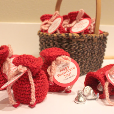 Valentine's Candy Crochet Bags