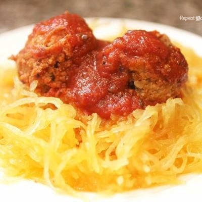 Crock Pot Spaghetti Squash and Meatballs