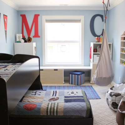 Boring to Bold Boys Sports Themed Bedroom