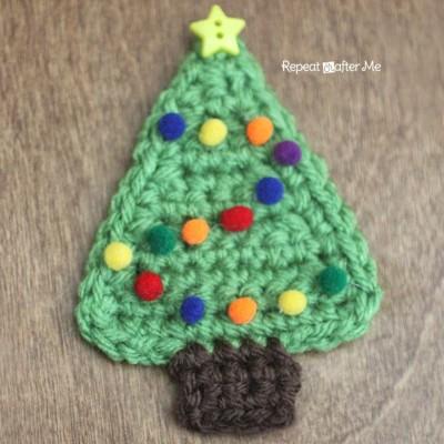 Crochet Christmas Tree Applique