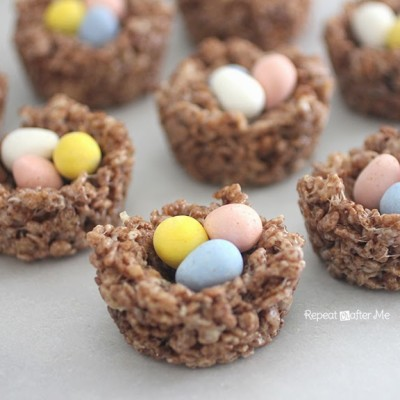 Birds Nest Cocoa Krispie Treats
