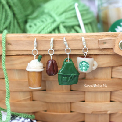 Starbucks Stitch Markers and Bottled Beverages