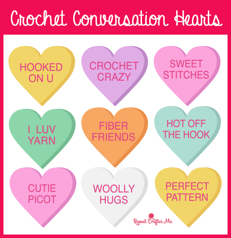 image regarding Printable Conversation Hearts named Crochet Communication Hearts - Repeat Crafter Me