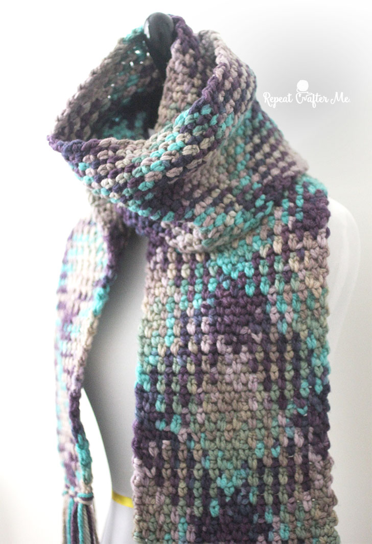 Crochet Planned Color Pooling Scarf Repeat Crafter Me
