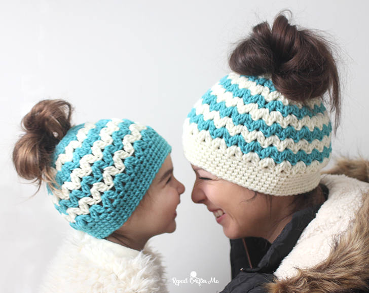 e54167673 Crochet Mommy and Me Messy Bun Hats - Repeat Crafter Me