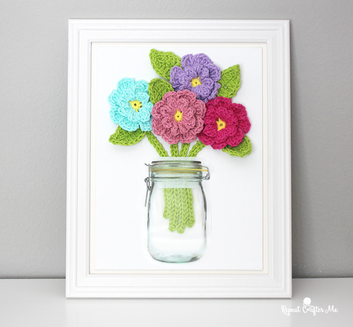 Crochet Flowers On Canvas Repeat Crafter Me