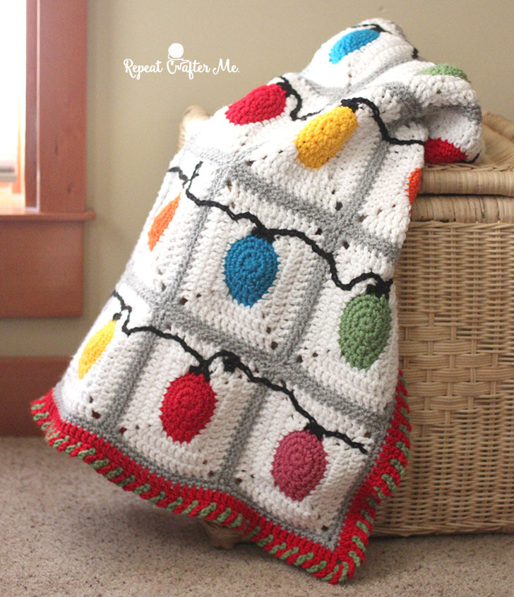 Christmas Crochet Blanket Free Pattern.Crochet Christmas Lights Blanket Repeat Crafter Me