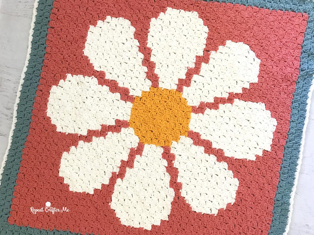 Crochet Daisy C2c Blanket With Bernat Blanket Tiny