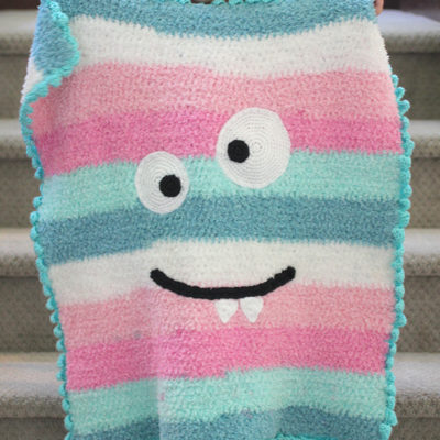 Crochet Monster Blanket with Bernat Pipsqueak Stripes