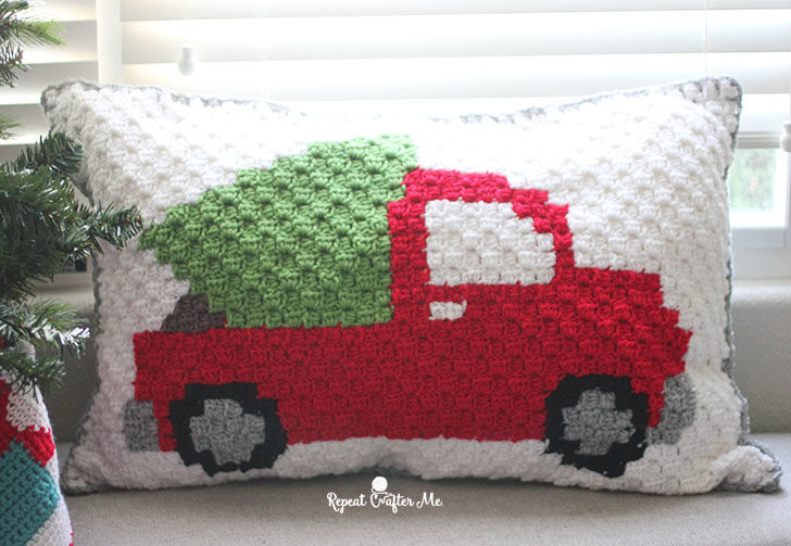 Crochet C2c Pickup Truck Tree Pillow Repeat Crafter Me