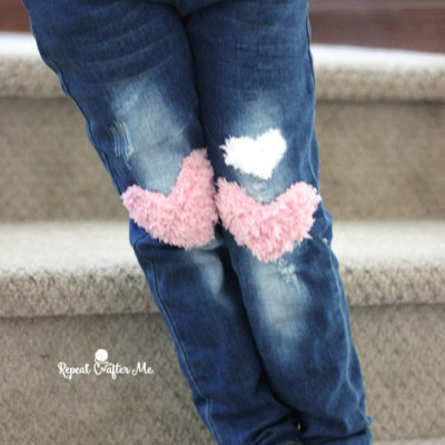 Crochet Pipsqueak Heart Patches for Jeans