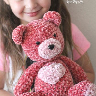 Bernat Velvet Valentine Crochet Bear