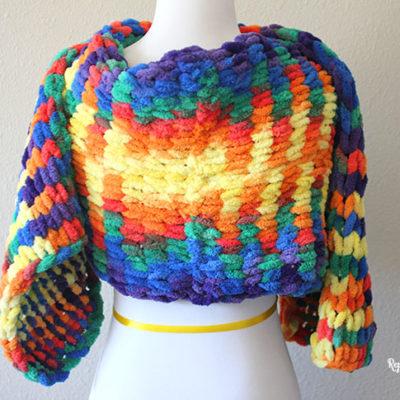 Bernat Alize Blanket-EZ Bright Rainbow Scarf