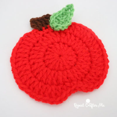 Crochet Apple and Bookworm Applique