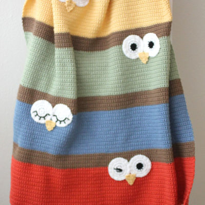 Crochet Owl Eyes Blanket