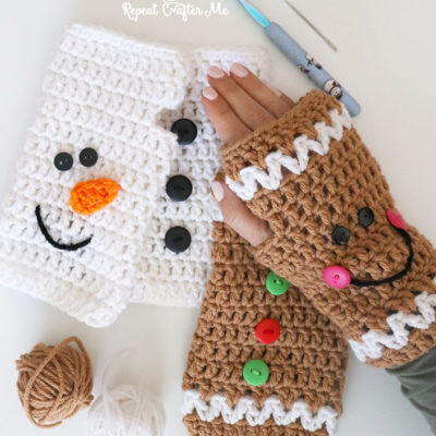 Crochet Christmas Fingerless Gloves