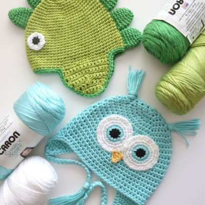 Crochet Owl and Dino Hat Kits at Walmart