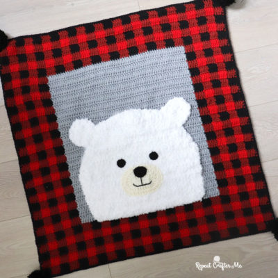 Crochet Plaid Polar Bear Blanket