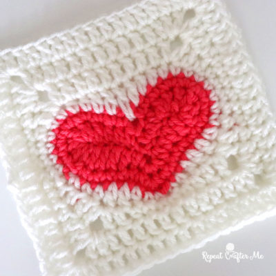 Crochet Heart Granny Square