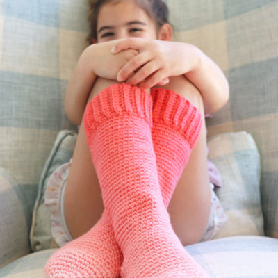 Red Heart Kids Crochet Slipper Socks