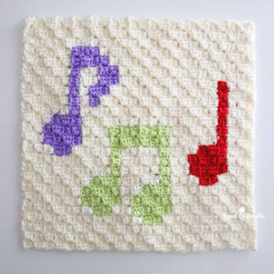 Music Note Crochet C2C Square