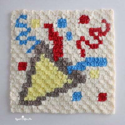 Party Popper Crochet C2C Square