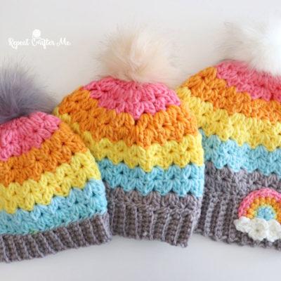 Crochet Cluster V-Stitch Hat with Bernat POP! Yarn