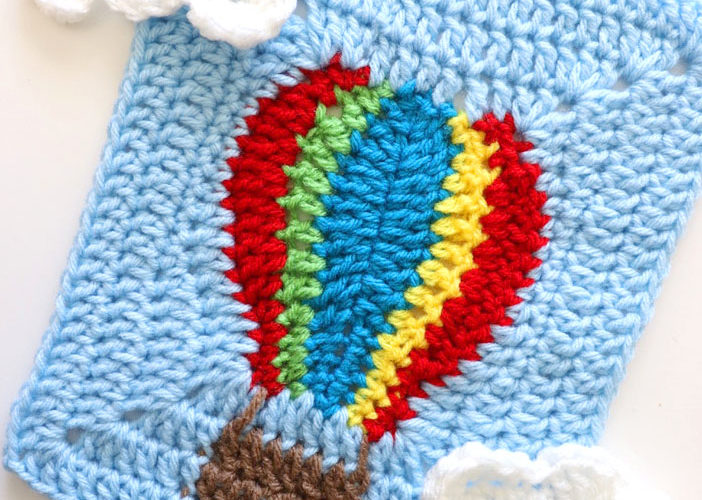 Hot Air Balloon Crochet Square