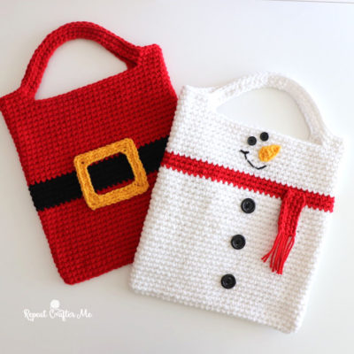 Crochet Christmas Tote Bags (Santa and Snowman)