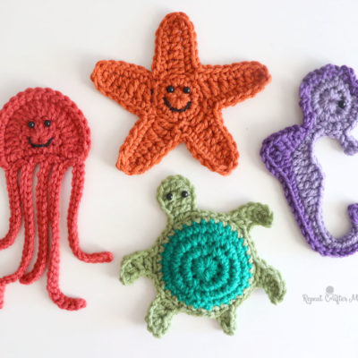Ocean Friends Crochet Appliqués: Starfish, Jellyfish, Turtle, and Seahorse