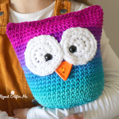 Easy Crochet Owl with Red Heart Super Saver Stripes