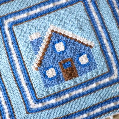 Crochet Cozy Winter Cabin Blanket