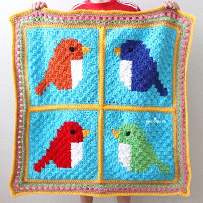 Crochet C2C Bird Blanket